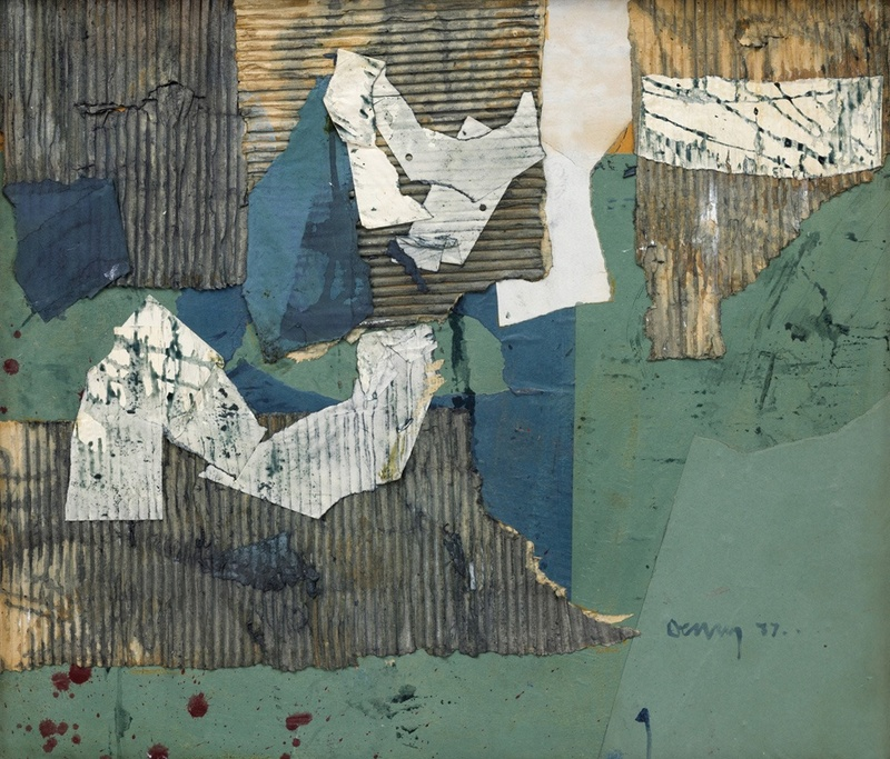 Collage 9  signed and dated 1957  mixed media and collage  67 x 77 cms (26.5 x 30 ins)  framed: 83 x 94 cms (32.5 x 37 ins)