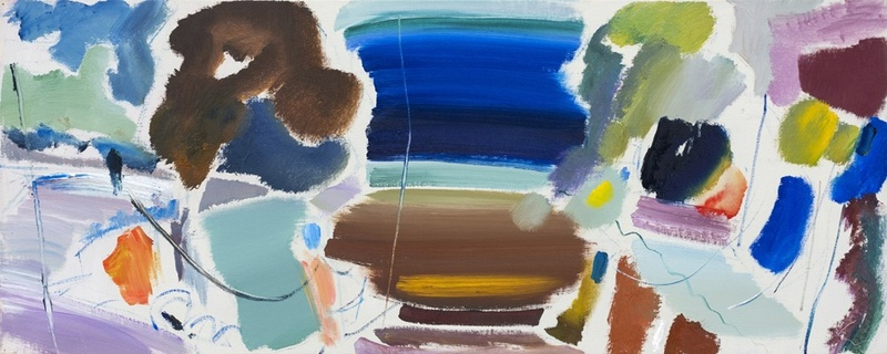 Ivon Hitchens  1893-1979 October Roof Painting (No 1)  dated 1977 and titled verso  estate stamp verso  oil on canvas  43 x 109 cms (17 x 43 ins)  framed: 56 x 122 cms (22 x 48 ins)